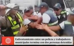 Chiclayo: policía se enfrenta a agentes del serenazgo en la vía pública