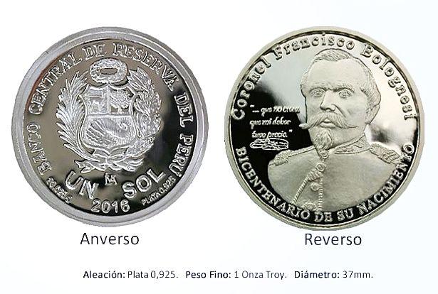 Monedas de un sol con imagen del Coronel Francisco Bolognesi