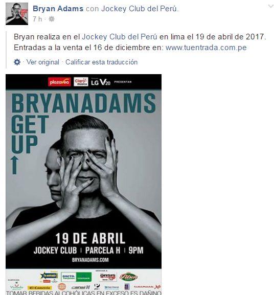 Bryan Adams Regresa Al Perú Con Get Up America Noticias