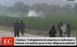 Chiclayo: un policía quedó herido en enfrentamiento con trabajadores de azucarera