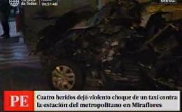 Cuatro heridos tras despiste de taxi en Miraflores
