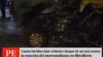 Cuatro heridos tras despiste de taxi en Miraflores...