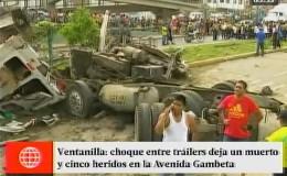 Ventanilla: choque entre 2 camiones acabó con la vida de motociclista