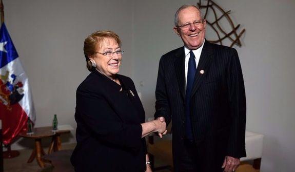 Michelle Bachelet, presidenta de Chile y Pedro Pablo Kuczynski, presidente de Perú. (Vía: El Comercio)