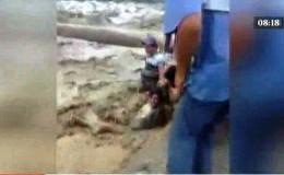 Áncash: dos hombres se salvaron de ser arrastrados por desborde de río