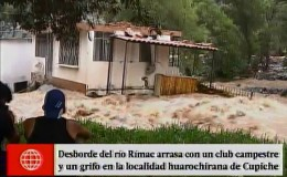 Huarochirí: otra casa a punto de colapsar por la crecida del río