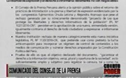 Consejo de la Prensa rechaza proyecto de control de medios