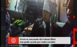 Joven fue rescatado del volcán Misti tras pedir ayuda por redes sociales