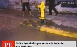 Calles inundadas por rotura de tubería en Chorrillos