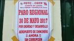 Aeropuerto de Chinchero: inician paro de 24 horas en la ciudad del Cusco - Noticias de huelga