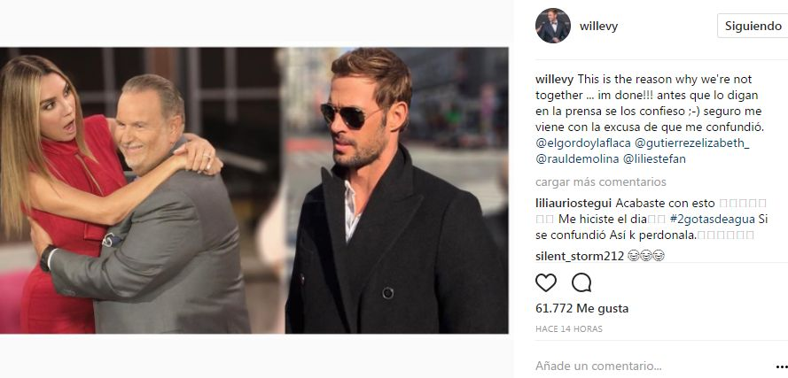 "William Levy confirma ""separación"" de Elizabeth Gutiérrez"