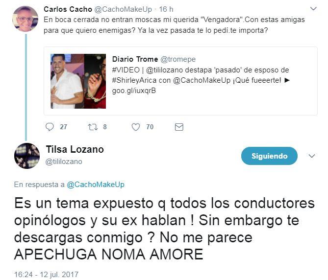Tilsa Lozano y Carlos Cacho discutieron en Twitter