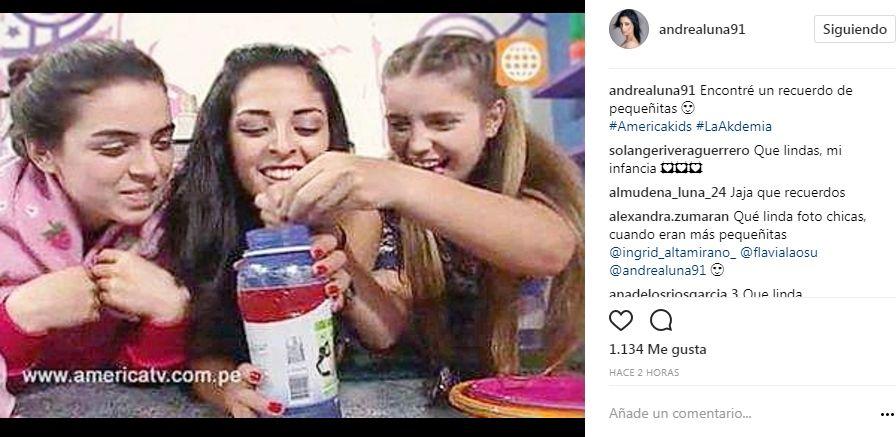 Andrea Luna compartió foto de Flavia Laos e Ingrid Altamirano en América Kids