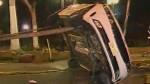 Barranco: vehículo impactó contra sardinel y se volcó por exceso de velocidad - Noticias de barranco
