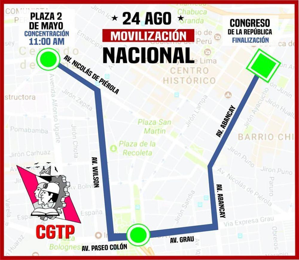Marcha CGTP en respaldo a la huelga de maestros