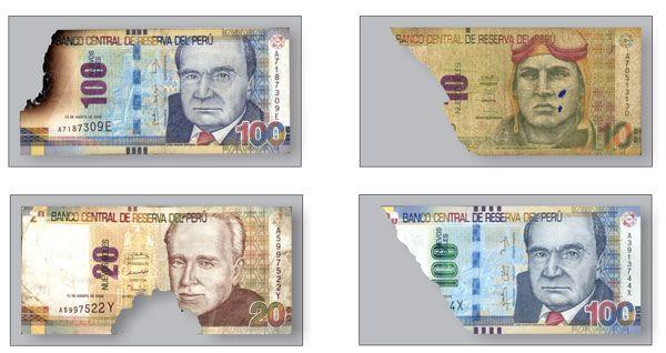 Billetes deteriorados