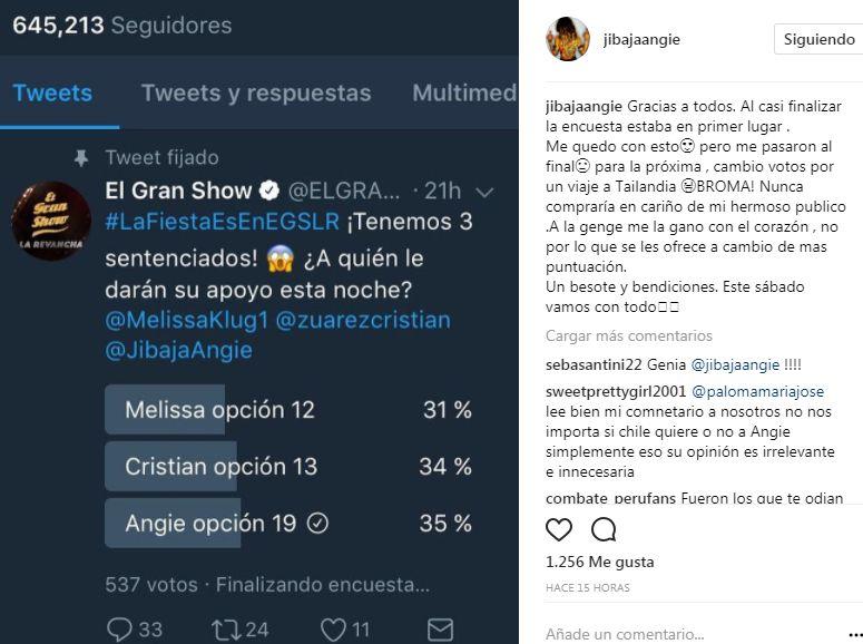 Angie Jibaja indirecta a Melissa Klug