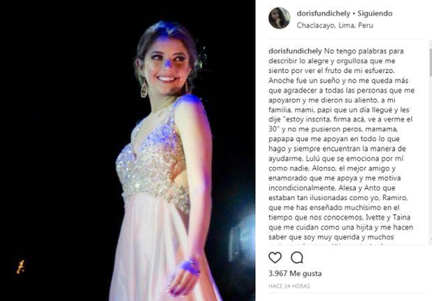 Hija de Orlando Fundichely agradeció así tras ganar el 'Chacla Teen 2017'
