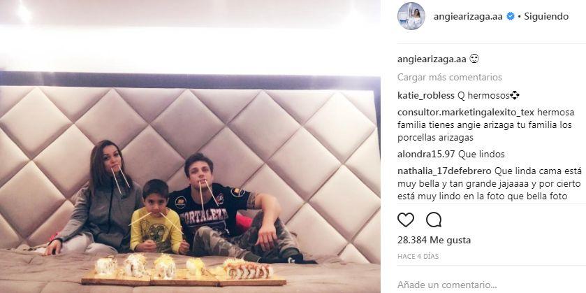 Angie Arizaga y el hijo de Nicola Porcella